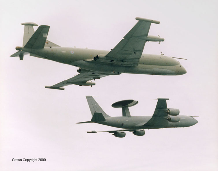 RAF NIMROD AND AWAC AIRCRAFT Formation of No 51 Squadron Nimrod R1 and Sentry AEW1 of No 8/23 Squadron, both based at RAF Waddington in Lincolnshire.