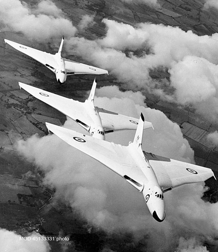 Vulcan bombers from RAF Waddington flying in formation in 1957.....