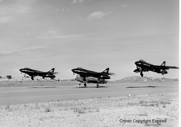Hunter F6s fighter aircraft  of No 92 Sqn. Akrotiri. Cyprus.