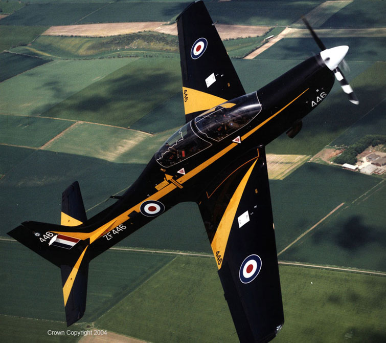 An RAF Tucano of No1 FTS (No1 Flying Training School), based at RAF Linton-on-Ouse, is shown here flying as part of a display routine.