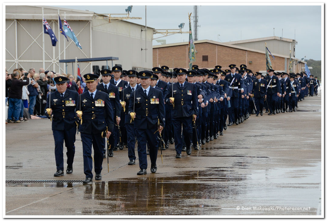 Parading the flying squadron's colours