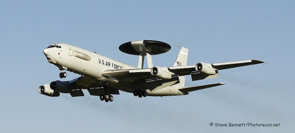 Boeing E-3 Sentry AWACS #78-0578, on approach at Pease