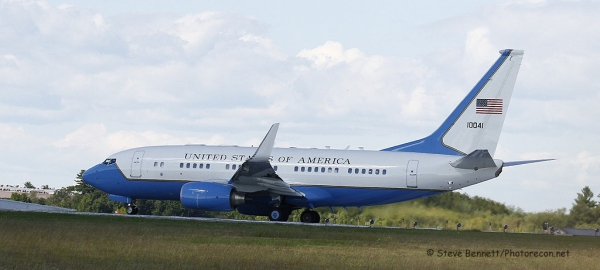 C-40 Clipper (Boeing-737) #10041, as Air Force-2, carrying VP Biden, at Pease